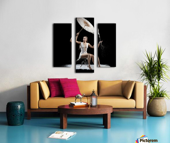 Woman with milk dress Canvas print