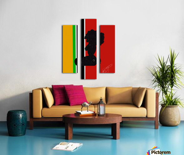 Afrocentric Woman Silhouette- African Flag Canvas print