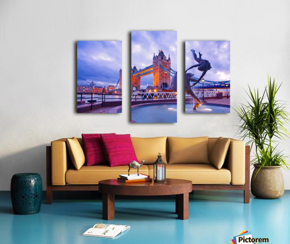 LON 014 Girl with  Dolphin and Tower Bridge Canvas print
