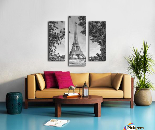 PARIS Eiffel Tower & River Seine   Monochrome Canvas print