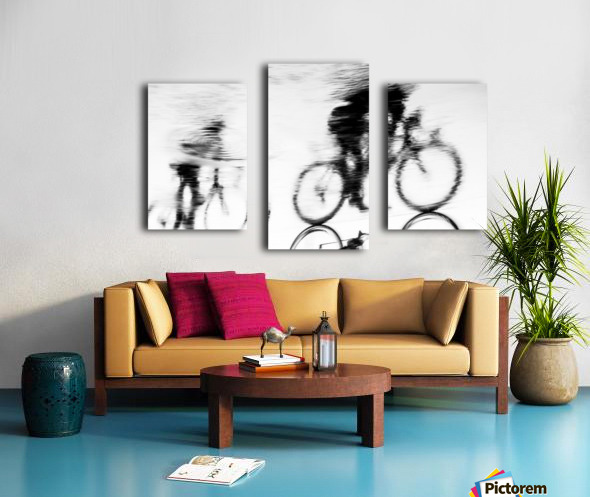 REFLECTED CYCLISTS Canvas print