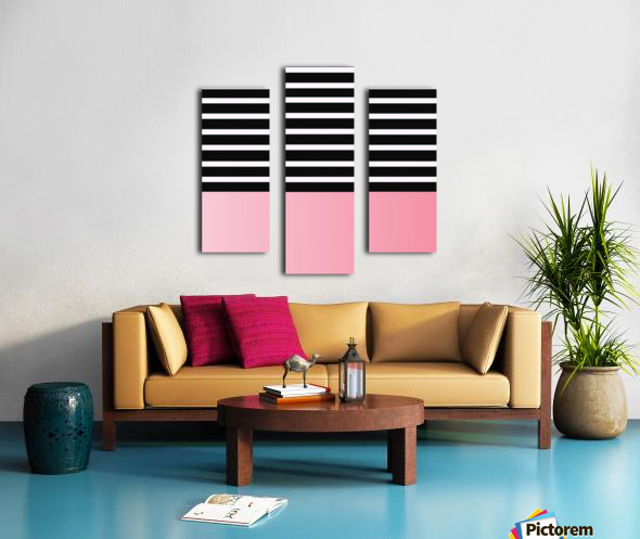 Black & White Stripes with Pink Gradient Patch Canvas print