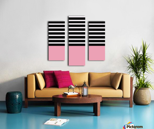 Black & White Stripes with Pacific Rose Patch Canvas print