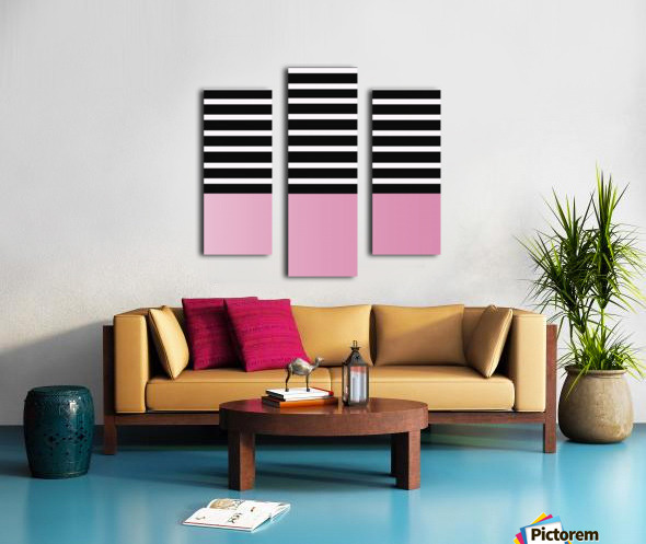 Black & White Stripes with Baby Pink Patch Canvas print