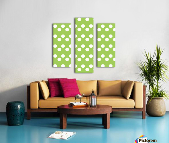 Dark Olive Green Polka Dots Canvas print