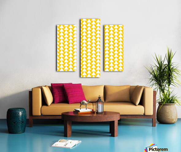 Yellow  White triangle Canvas print