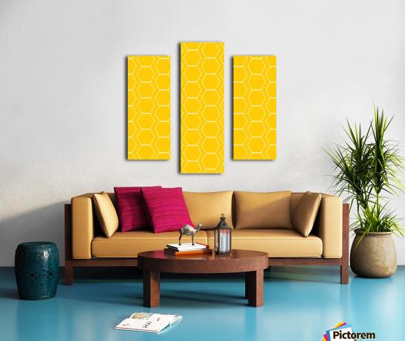 Yellow  White Hexagen Canvas print