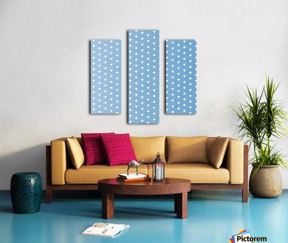Blue Grey Heart Shape Pattern Canvas print