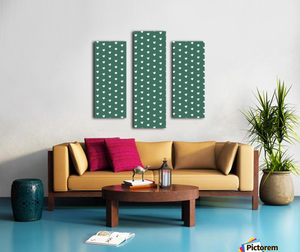 HUNTER GREEN Heart Shape Pattern Canvas print