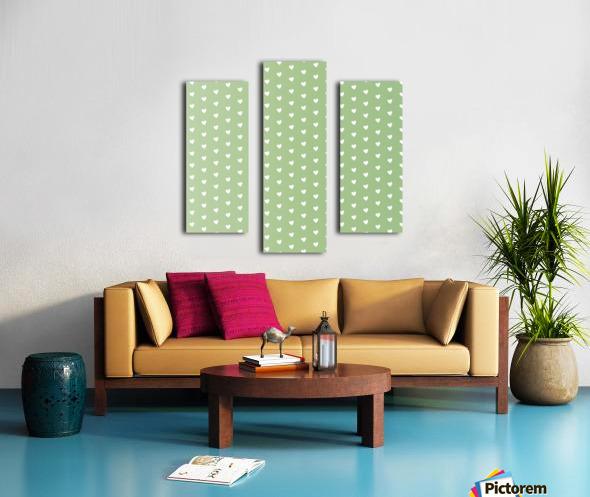 Green Blush Heart Shape Pattern Canvas print