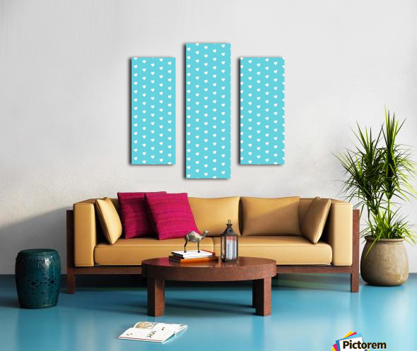 Sweet Light Blue Heart Shape Pattern Canvas print