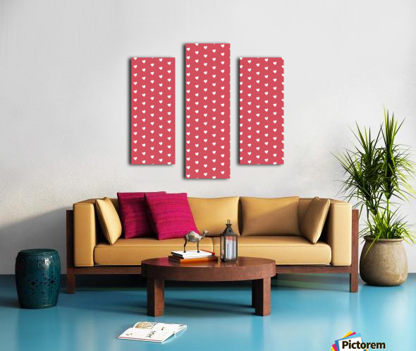 Royal Red Heart Shape Pattern Canvas print