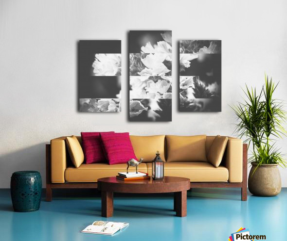 Flower Bells Collage BnW Canvas print