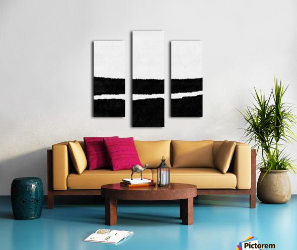 Black White Minimal Abstract Painting Nr.102 Canvas print