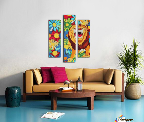 Lion and Flowers Fantasy  Canvas print