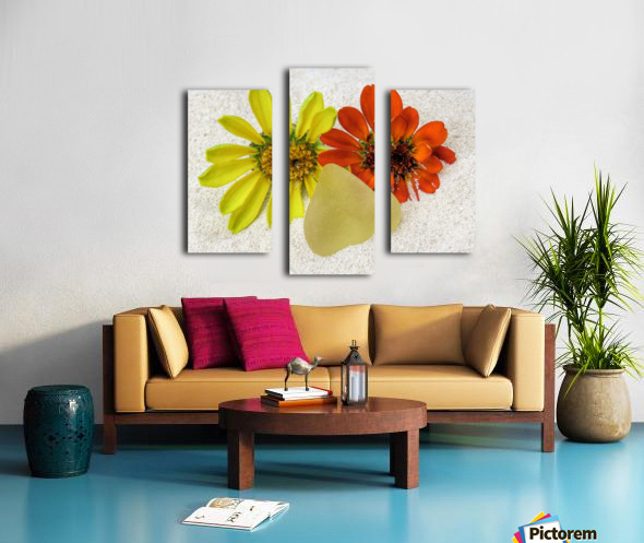 Pale yellow sea glass and zinnias Canvas print