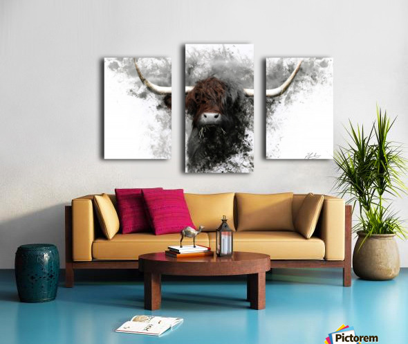 Highland Cow in Ink Canvas print