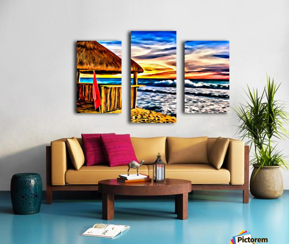 Beach Hut and Stormy Sea in Oil Canvas print