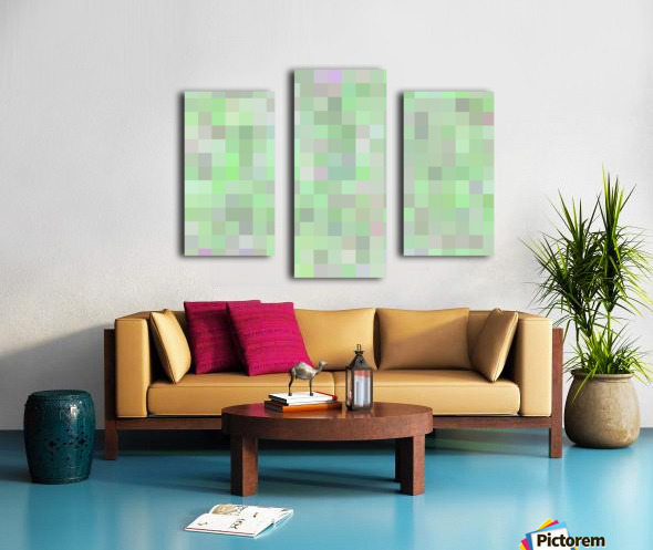 geometric square pixel pattern abstract in green and pink Canvas print
