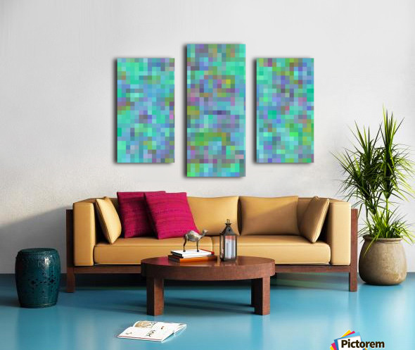 geometric square pixel pattern abstract in green blue pink Canvas print