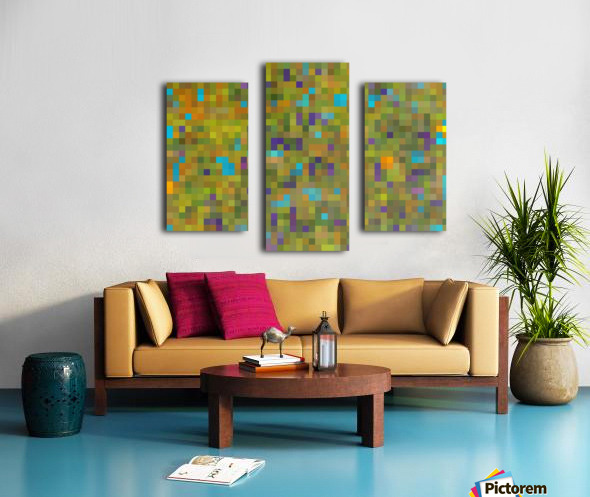 geometric square pixel pattern abstract in green yellow blue purple Canvas print