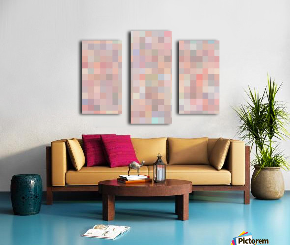 geometric square pixel pattern abstract in pink and blue Canvas print