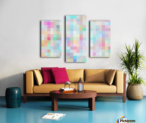 geometric square pixel pattern abstract in blue and pink Canvas print
