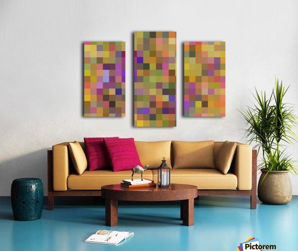 geometric square pixel pattern abstract in yellow green purple Canvas print