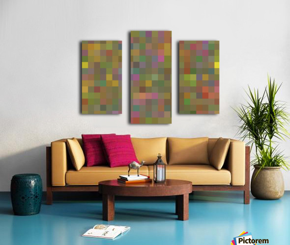 geometric square pixel pattern abstract in green pink yellow Canvas print