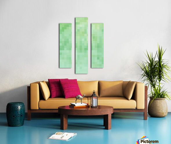 Abstract Pixel Picture - Green shades  Canvas print