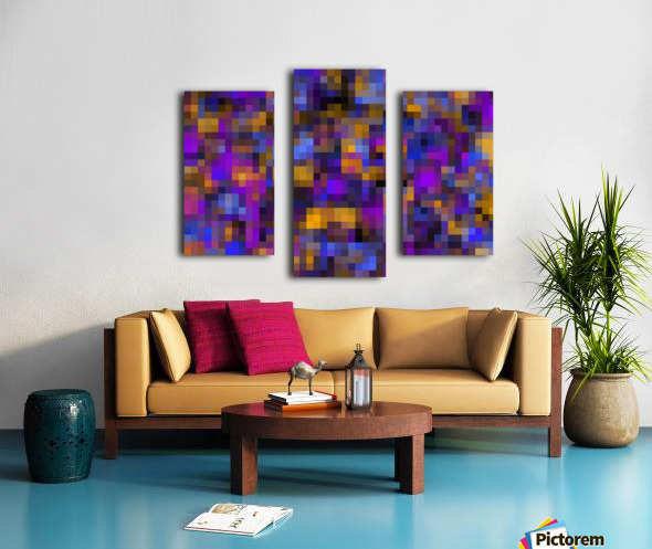 geometric square pixel pattern abstract background in blue purple yellow Canvas print