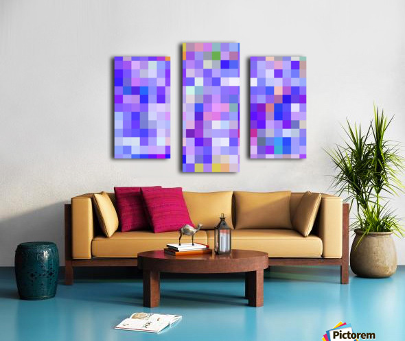 geometric square pixel pattern abstract background in blue pink purple Canvas print