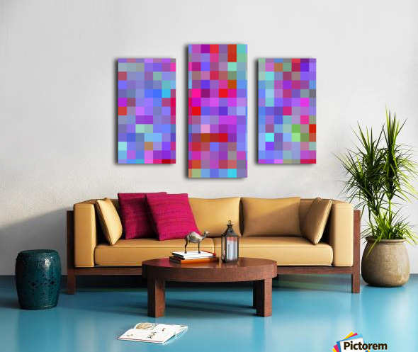 geometric square pixel pattern abstract background in pink blue purple Canvas print