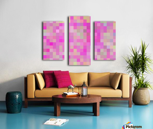 geometric square pixel pattern abstract background in pink blue green Canvas print