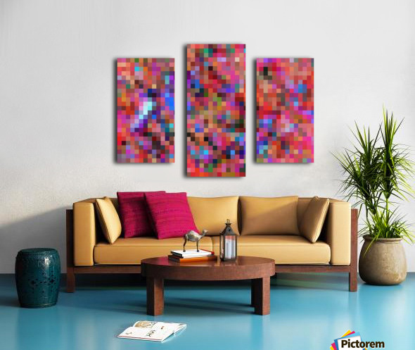 geometric square pixel pattern abstract background in pink blue orange purple Canvas print