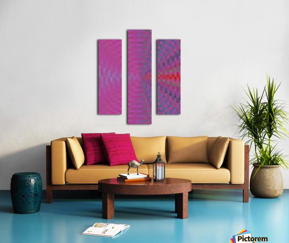 geometric square pixel pattern abstract background in pink and blue Canvas print