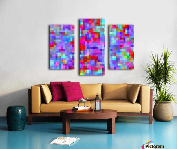 geometric square pixel pattern abstract background in blue purple pink red Canvas print