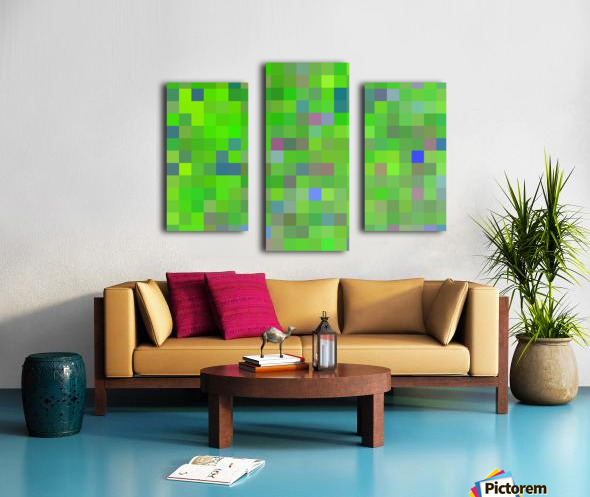 geometric square pixel pattern abstract background in green blue pink Canvas print