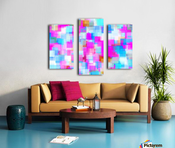 geometric square pattern abstract background in pink and blue Canvas print