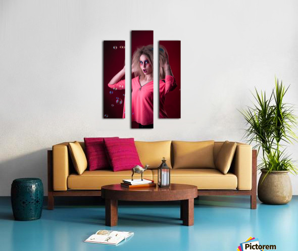 Attractive young girl with disheveled hair  Canvas print