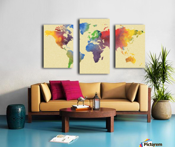 Hot And Vivid Watercolor Map Of The World Canvas print