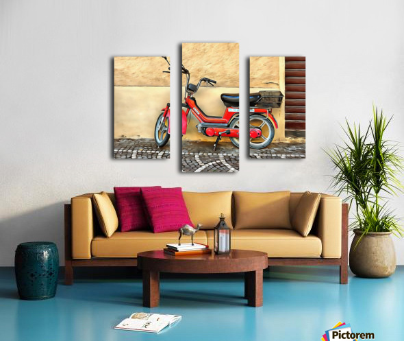 Red Piaggio Moped Canvas print