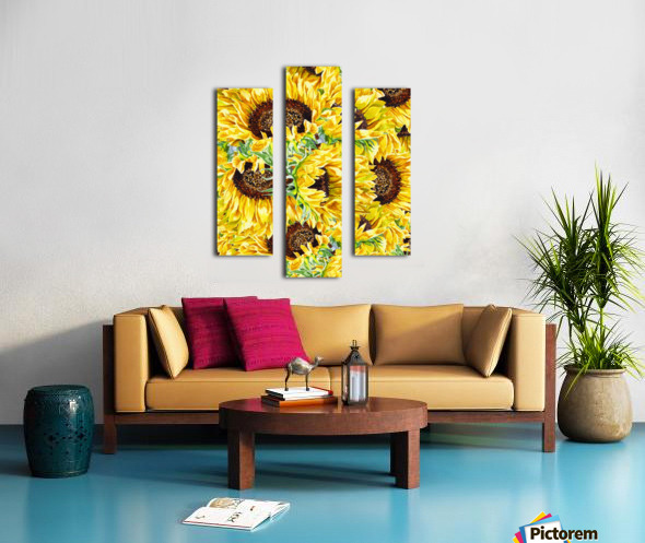 The Filed Of Watercolor Sunflowers Pattern Canvas print