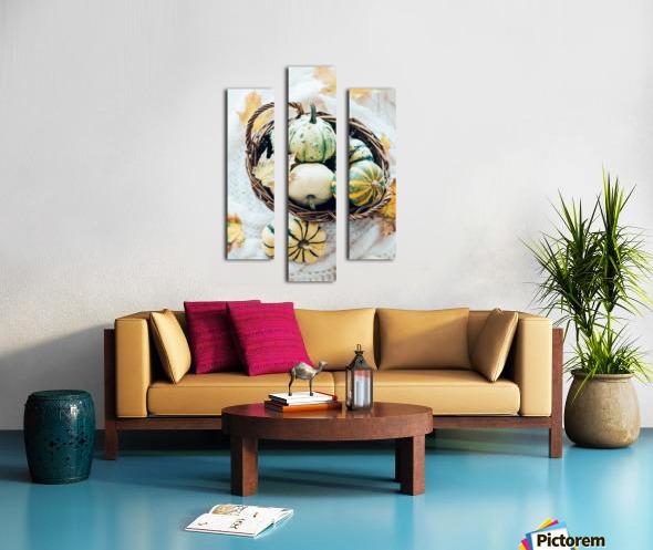 Autumn pumpkins in a basket Canvas print