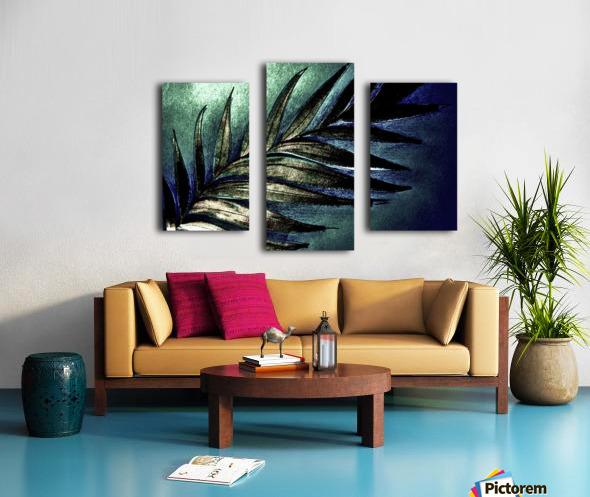 GREEN METALLIC PALM TREE LEAF TROPICAL DESIGN Canvas print