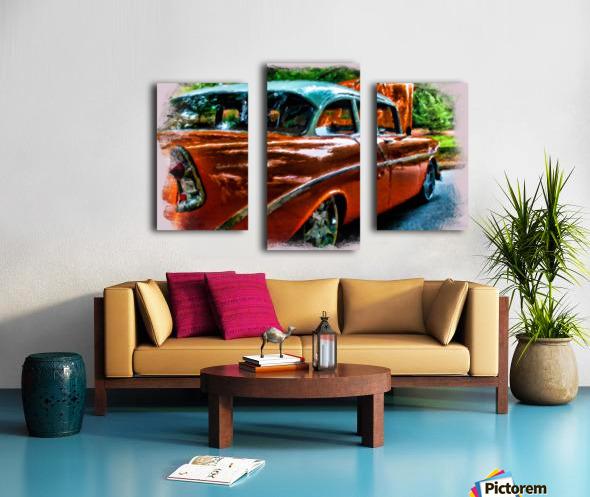 Classic Orange Car in Park Painting Impression sur toile