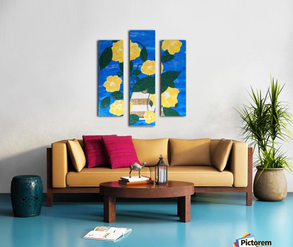 Yellow flowers in vase  Canvas print