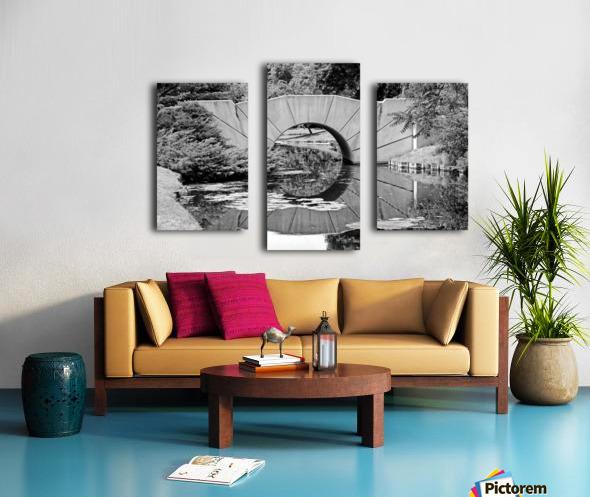 Reflecting Bridge Dow Gardens BW 062618 Canvas print