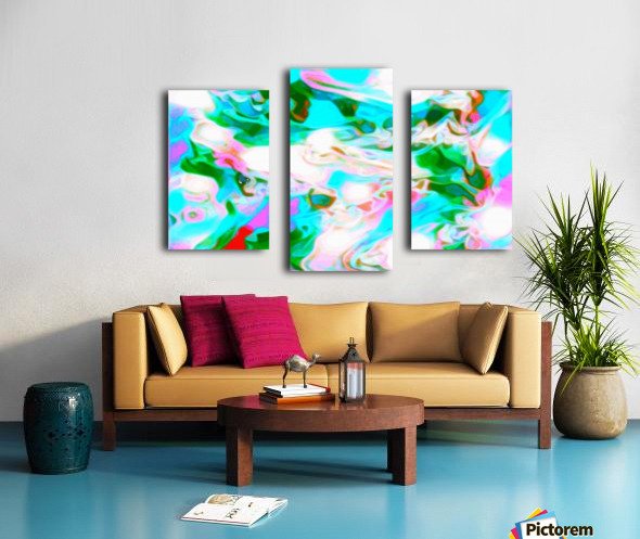 Angelic High - white blue pink green swirls abstract wall art Canvas print