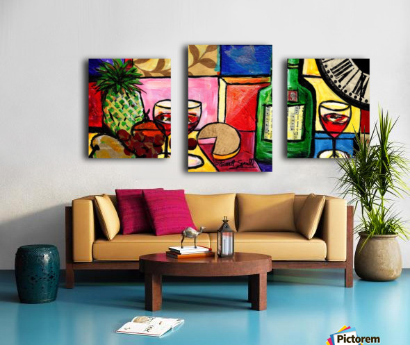 Still Life Fruit and Wine Canvas print